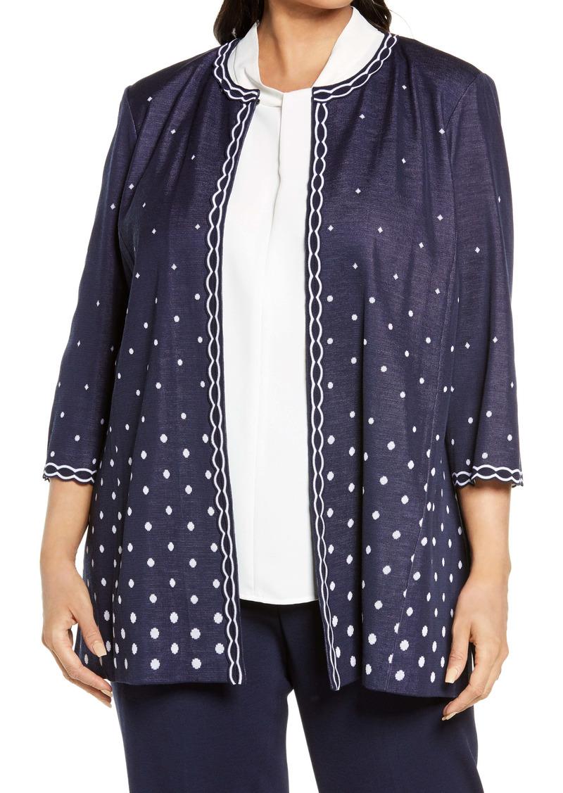 Ming Wang Polka Dot & Scallop Knit Jacket (Plus Size)