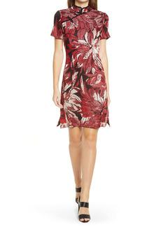 Ming Wang Qipao Jacquard Floral Dress