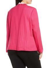 Ming Wang Rhinestone Detail Knit Jacket (Plus Size)