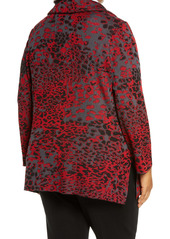 Ming Wang Ruched Collar Knit Jacket (Plus Size)