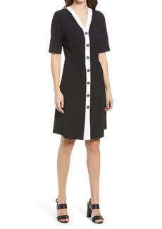 Ming Wang Shirred Button Front Dress