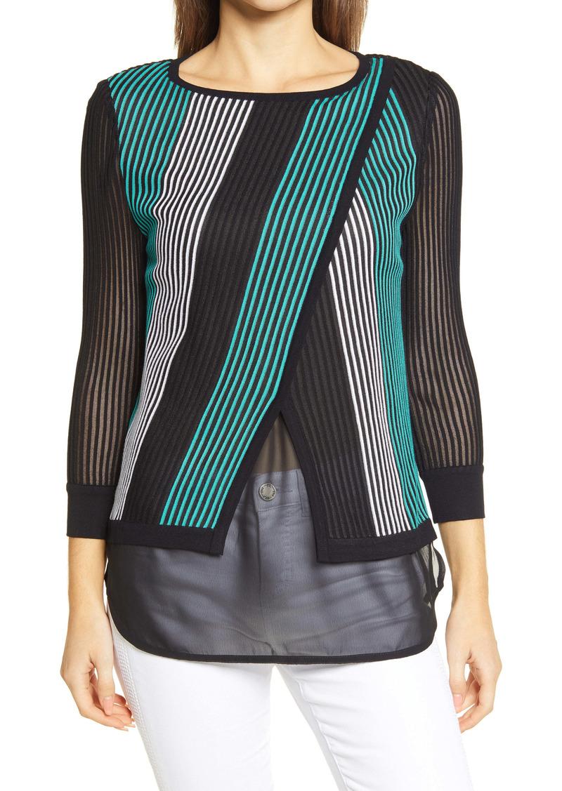 Ming Wang Stripe Overlay Chiffon Tunic