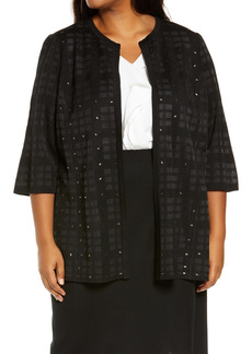 MIng Wang Stud Open Front Jacket (Plus Size)