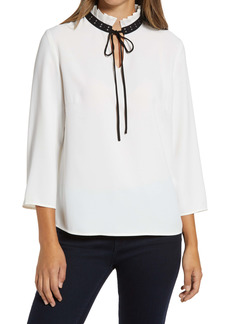 Ming Wang Studded Collar Tie Neck Top