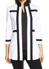 Ming Wang Texture Stripe Knit Jacket