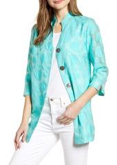 Ming Wang Textured Dot Mandarin Collar Jacket