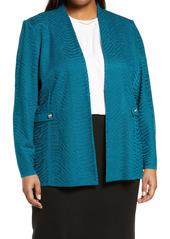 Ming Wang Textured Knit Jacket (Plus Size)