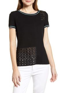 Ming Wang Textured Short Sleeve Top