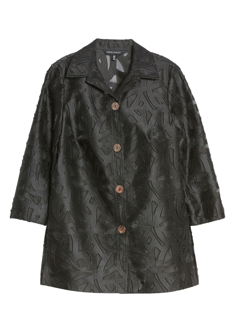 Ming Wang Three Quarter Sleeve Embroidered Jacket