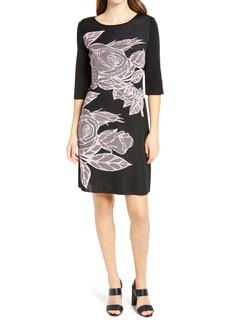 Ming Wang Three Quarter Sleeve Floral Sweater Dress