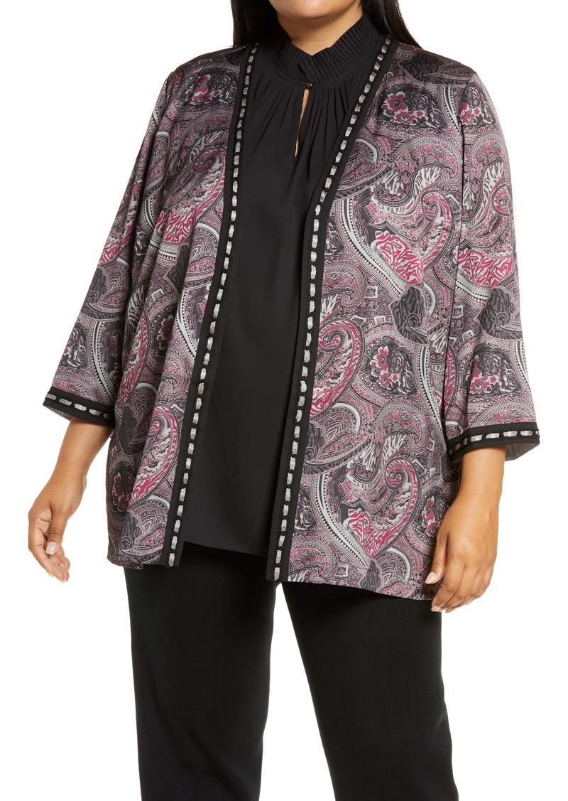 Ming Wang Three Quarter Sleeve Jacket (Plus Size)