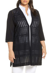 Ming Wang Three Quarter Sleeve Knit Jacket (Plus Size)