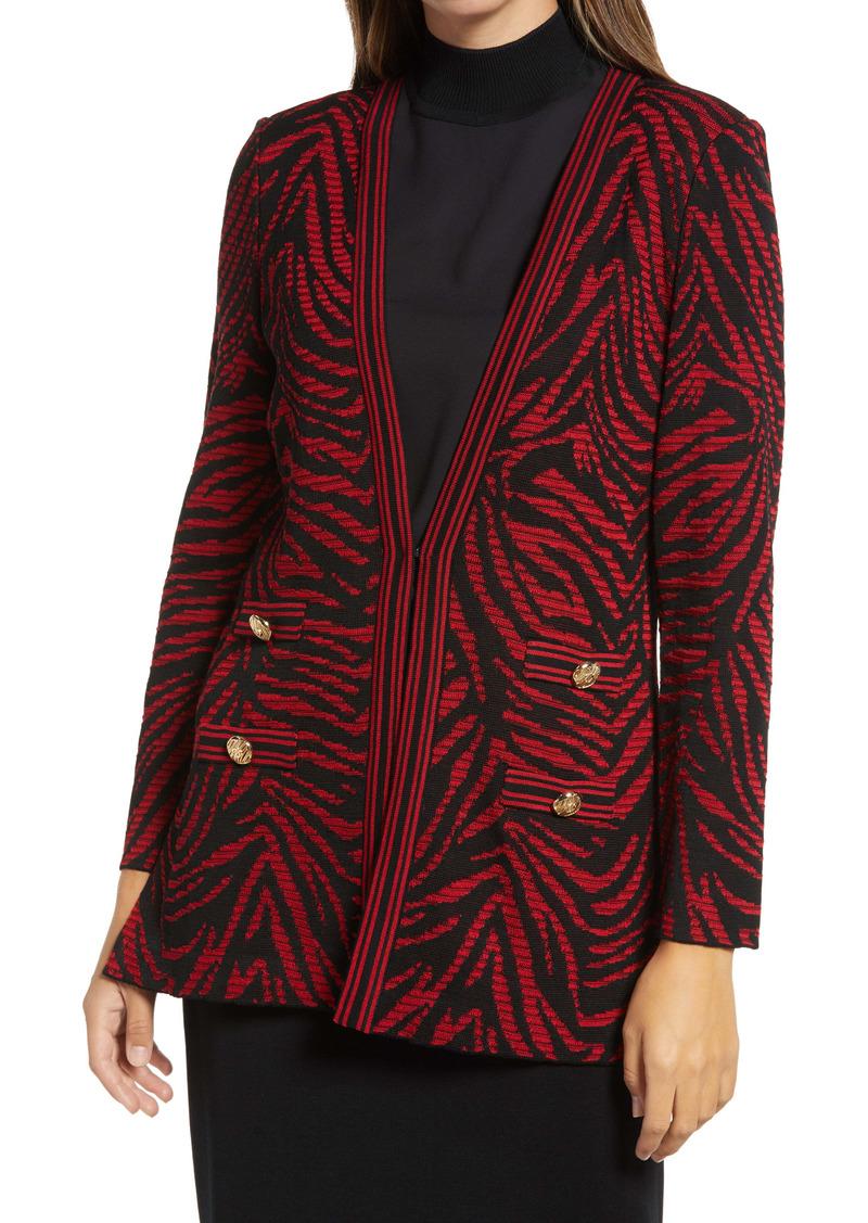 Ming Wang Tiger Swirl Jacquard Knit Jacket