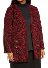 Ming Wang Tiger Swirl Jacquard Knit Jacket (Plus Size)
