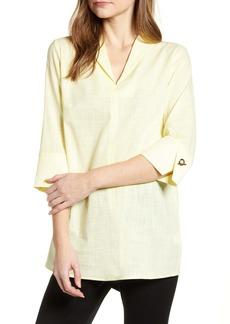 Ming Wang Toggle Cuff Cotton Shirt
