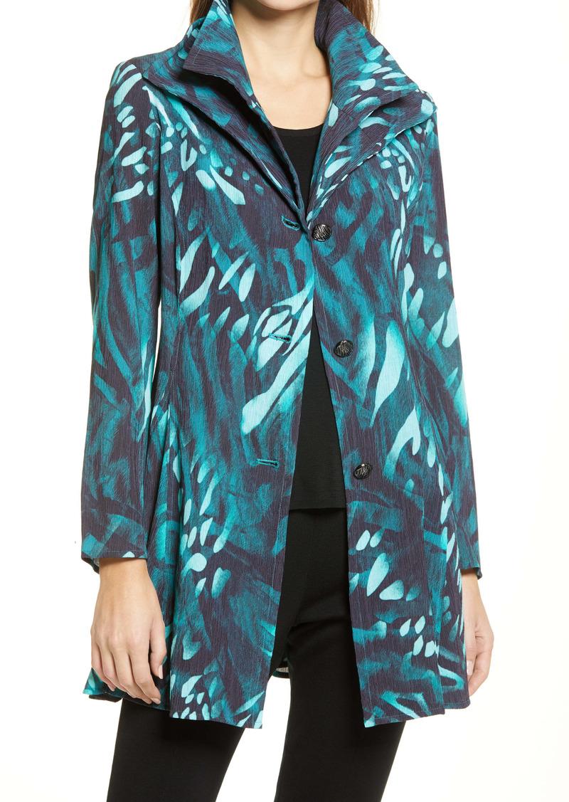 Ming Wang Tropical Print Double Collar Long Jacket
