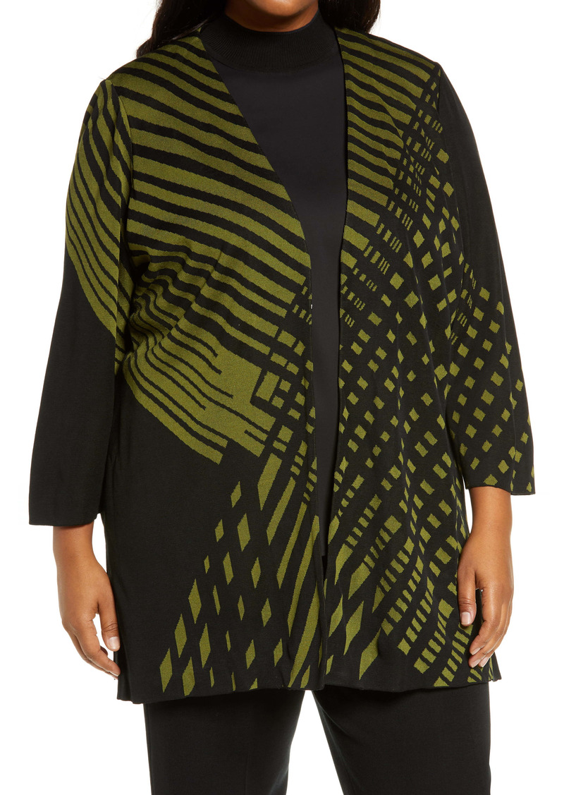 Ming Wang V-Neck Cardi Coat (Plus Size)