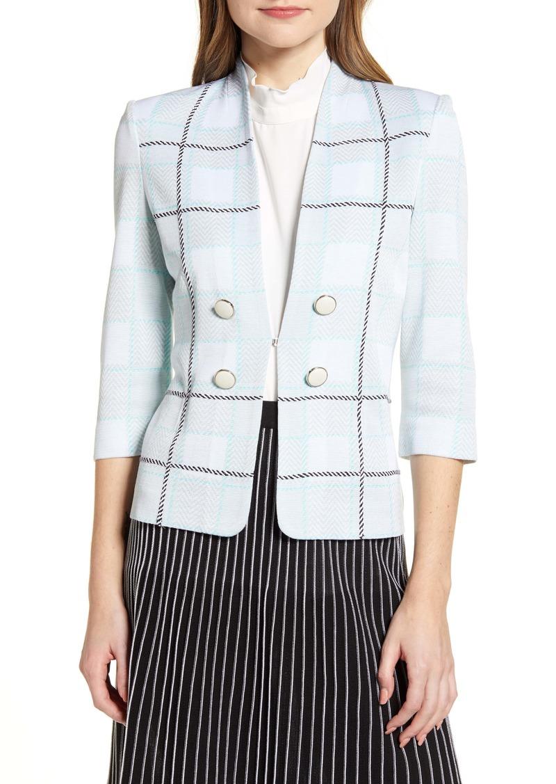 Ming Wang Windowpane Plaid Jacket