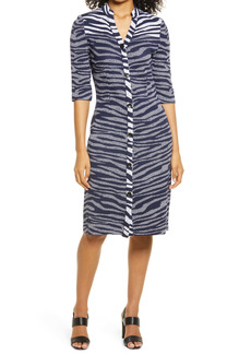 Ming Wang Zebra Stripe Button Front Sheath Dress