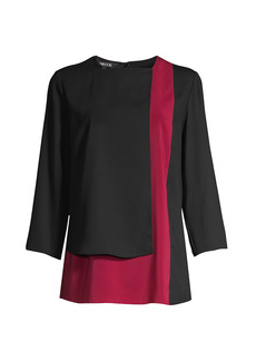 Misook Colorblock Panel Blouse