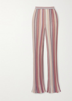 Missoni Metallic Striped Crochet-knit Straight-leg Pants
