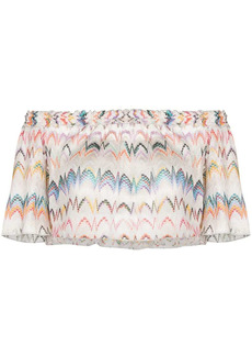 Missoni off-shoulder zigzag embroidered blouse