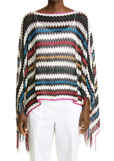 Missoni Metallic Stripe Fringe Poncho