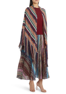 Missoni Metallic Stripe Wool Blend Fringe Shawl