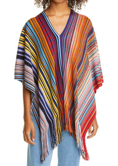 Missoni Metallic Stripe Wool Blend Poncho