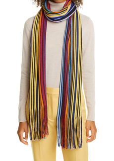 Missoni Metallic Stripe Wool Blend Scarf