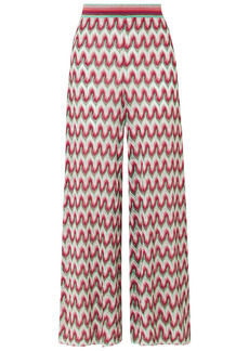 Missoni Woman Crochet-knit Lurex Wide-leg Pants Red