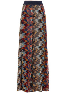 Missoni Woman Metallic Crochet-knit Wide-leg Pants Navy