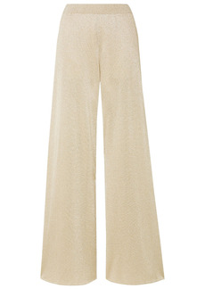 Missoni Woman Metallic Crochet-knit Wide-leg Pants Platinum