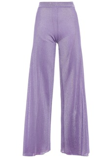 Missoni Woman Metallic Ribbed-knit Wide-leg Pants Lavender