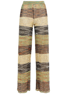 Missoni Woman Sequin-embellished Crochet-knit Wide-leg Pants Green