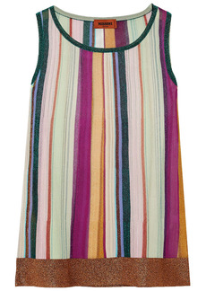 Missoni Woman Striped Metallic Crochet-knit Tank Purple