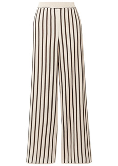 Missoni Woman Striped Metallic Crochet-knit Wide-leg Pants Beige