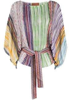 Missoni signature stripe-weave beach blouse