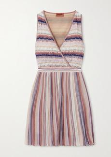 Missoni Wrap-effect Metallic Striped Crochet-knit Mini Dress