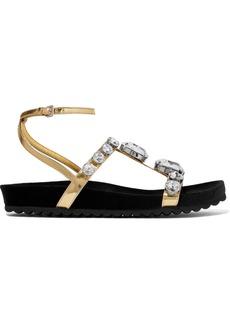 Miu Miu Crystal-embellished Metallic Leather Sandals