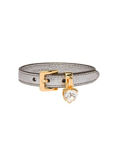 Miu Miu Madras leather bracelet with crystal