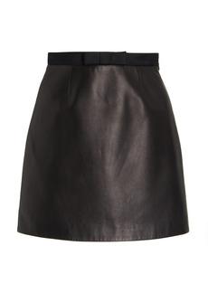 Miu Miu - Women's Bow-Accented Nappa Leather Mini Skirt - Black - Moda Operandi