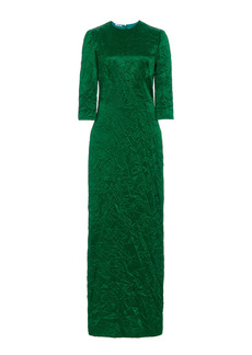 Miu Miu - Women's Crinkled Silk Satin Maxi Dress - Green/gold - Moda Operandi