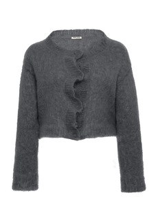 Miu Miu - Women's Cropped Mohair-Blend Knit Sweater - Black/grey - Moda Operandi