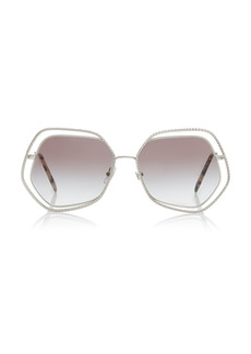 Miu Miu - Women's Crystal-Embellished Hexagonal Metal Sunglasses - Brown - Moda Operandi