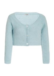Miu Miu - Women's Diamante Embroidered Mohair-Knit Cropped Cardigan - Blue - Moda Operandi