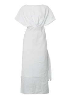 Miu Miu - Women's Drape-Detailed Linen Midi Dress - White - Moda Operandi