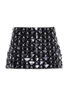 Miu Miu - Women's Embroidered Cady Mini Skirt - Black/yellow - Moda Operandi