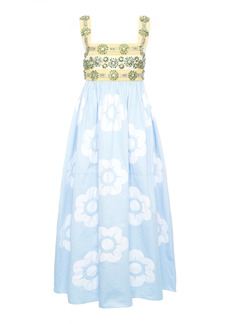 Miu Miu - Women's Floral-Embellished Cotton Midi Dress - Print - Moda Operandi