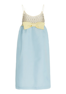 Miu Miu - Women's Gazar Embroidered Midi Dress - Blue - Moda Operandi